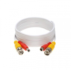 RG45 60ft ( 18M) cable White : 60ft Premade 2 in 1 DIY Cable, BNC(male male),and DC(male female) (7*0.12CU+32*0.09CU)+7*0.12CU OD4.0 or All HD CCTV DV